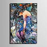 LIUXIAOYAN Abstrakte Frau Hand Bemalt Ölgemälde Leinwand Druck Wand Dekor Gemälde Kit Wall Art American Modern Abstract Malerei für wohnzimmerwand Dekoration gestreckt