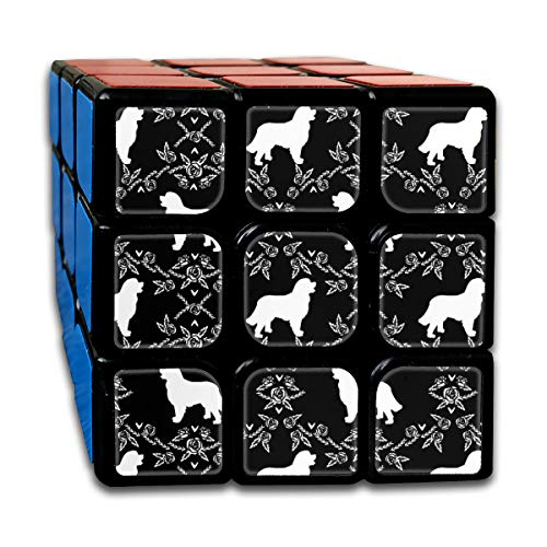 Bernese Mountain Dog Floral Silhouette Black and White_601 3x3 Magic Speed Cube Smooth Speed Magic Rubik Cube Puzzles Toys -