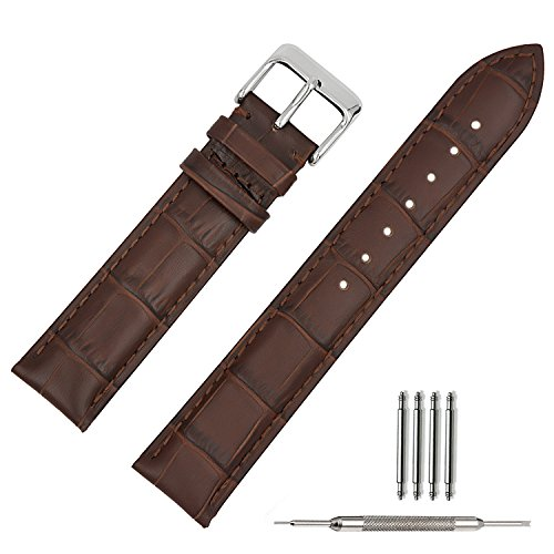 TStrap Bracelet Montre Cuir 22mm Bande Chaîne de Montre Watch Strap pour Homme Femme Marron
