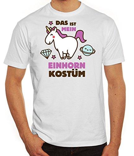 Fasching Karneval Herren T-Shirt mit Das ist mein Einhorn Kostüm 2 Motiv von ShirtStreet, Größe: L,weiß