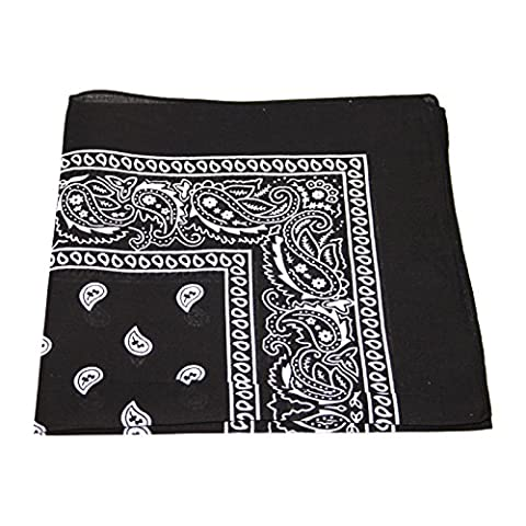 Men's/Women's Bandana Head or Neck Scarves Paisley Pattern 100% Cotton – Black