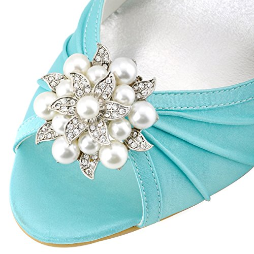 ElegantPark EP2094AE Donna Peep Toe AE01 Asportabile Clips Per Scarpe Tacco Alto Perle Fibbia Raso Scarpe Da Sposa Menta