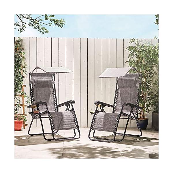 VonHaus Set of 2 Zero Gravity Chairs with Canopy