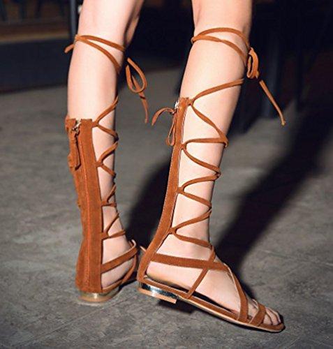 YOUJIA Femmes Hauteur Genou Lanières Flat Eté Gladiateur Bottes Romain Lacets Sandale #1 Jaune