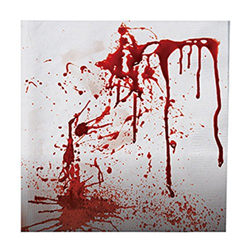 erdbeerparty- Motto-Party Halloween Servietten Splatter, 20 Stück, 33 cm, (Rot Devil Hollywood Kostüme)