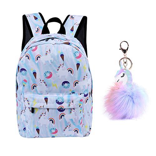 Evbea zaino unicorno per ragazze adolescenti scuola zipper tela zaino donna uomo zainetto zaini scolastici cartelle zainetti astuccio backpack viaggio con portachiavi(blu, portachiavi)