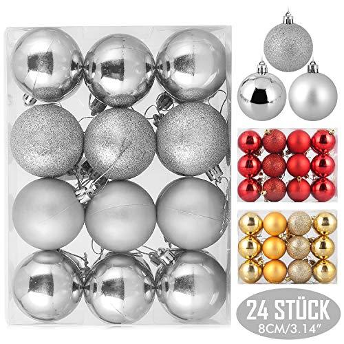 Zogin palline di natale dorate, per albero di natale bauble, decorazioni natalizie, palline di ornamenti albero natale,decorazioni per feste (argento, 24pezzi-8cm)