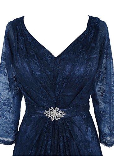 Bbonlinedress Robe de cérémonie Robe de mère de la mariée en dentelle col en V avec manches Bleu Saphir