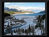 Zopix Poster im Rahmen Cline Fluss Kanada Wasser Natur Wandbild - Premium (60x40 cm, Schwarz)