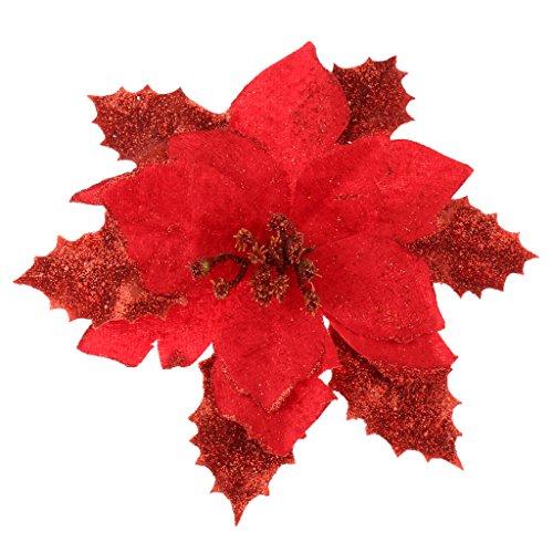 Weihnachtsblumen Weihnachtsbaum Dekoration Glitter Hochzeit Dekor Red 17cm (Glitter Hochzeit Dekor)