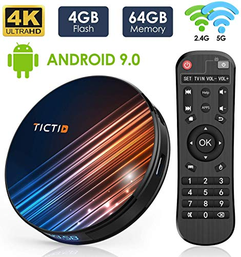 Android 9.0 TV-Box 【4 GB + 64 GB】 TV Box Android BT 4.0 USB 3.0 Quad-Core RK3318 64 Bit, WiFi-Double 2,4 G / 5 GHz, LAN 100M, 4K-TV-Box