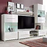 tidyard Mueble Salón Comedor Moderno Mesa para TV Mueble TV de Pared con LED y 2 Gabinetes,Estilo Moderno,Decorativo para Su Salón,240x40x195cm Blanco