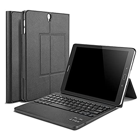 OMOTON Housse de Clavier Français AZERTY Samsung Galaxy Tab S3 9.7, Clavier Bluetooth Détachable, Clavier Etui en Cuir PU pour Galaxy Tab S3 9.7, Noir