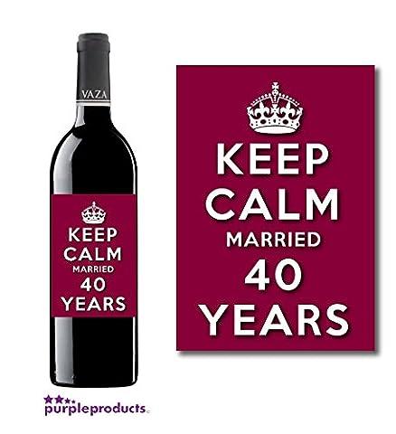 Keep Calm 40th Ruby Wedding Anniversary Wine bottle label Celebration