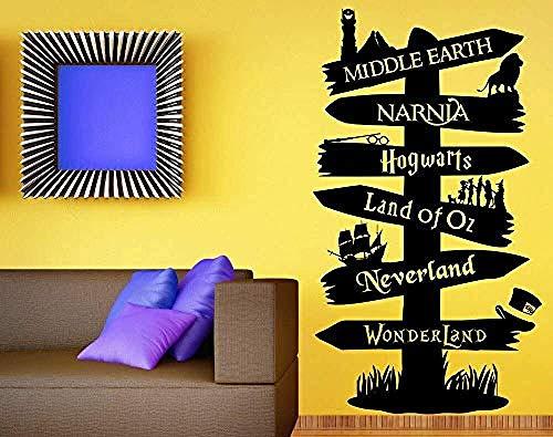 514%2ByasJeKL - Tatuajes de pared Vinilo Adhesivo Libro de cuentos Poste indicador Fandom Señor del anillo Narnia Peter Pan Tipografía Murales de puerta 57 * 101Cm