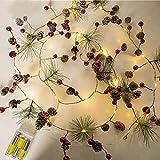 Tellaboull for Ficelle de Fil de cuivre menée cônes de pin de Noël de chaîne chaîne de lumières étoilées