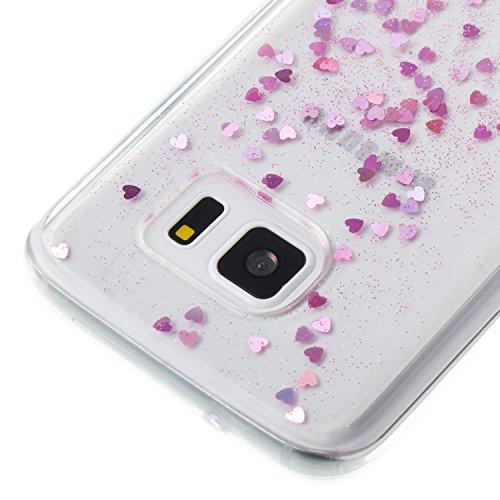 Samsung Galaxy S7 Silicone Coque, Samsung Galaxy S7 Bling Diamant Coque en Silicone Coque Clair,Cozy Hut Bling Glitter Étoile étincelante étoilée design étoilé pour Samsung Galaxy S7 Case Coque Housse Pink Love