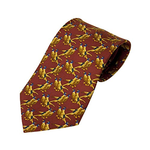 Preisvergleich Produktbild Bisley Pheasants Solid Red 100% Silk Tie - Shooting and hunting - Handmade