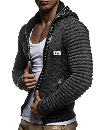 LEIF NELSON Herren Strickjacke Pullover Jacke Hoodie mit Nieten Sweatshirt Biker-Style Gesteppt Schalkragen LN5170;