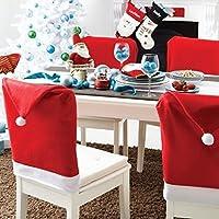 GudeHome Decorazione Natalizia Festa Babbo Natale Cappello Rosso Copri Sedie
