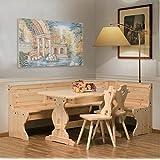 Banco de esquina con tabla y dos sillas - color miel