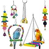 XZANTE 6 pappagalli Giocattoli Altalena Uccello-Pappagallo Campana Giocattoli per pappagallini, parrocchetti, cacatua, Conchiglie e Uccelli d'Amore