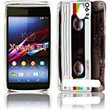 Sony Xperia E1 E1 Dual Silikon KASSETTE RETRO Design Schutz Handy Hülle Case Tasche Etui Bumper thematys®