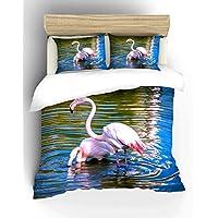 Adam Home 3D Digital Printing Bett Leinen Bettwäsche-Set Bettbezug + 1x Kissenbezug - Flamingos Drinking Water (Alle Größen)