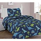 Elegante casa dinosaurios Jurassic Park diseño 2piezas Doble tamaño edredón colcha oscuro azul con verde para niños adolescentes niños # dinosaurio azul, cama individual