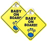 WithElephant 【2pcs】Baby on Board Sign for Car Kids Safety Warning Sticker with 4CM Removable Silicone Suction