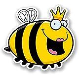 2 x 10cm/100mm Queen Honey Bee Vinyl SELBSTKLEBENDE STICKER Aufkleber Laptop reisen Gepäckwagen iPad Zeichen Spaß #5899