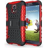 Funda Galaxy S5 ,Pegoo El Soporte Incorporado A Prueba de golpes Anti-Arañazos y Polvo Mezcla Doble Capa Armadura Proteccion Cover Case Caso Funda Cáscara Caja para Samsung Galaxy S5 (Rojo)