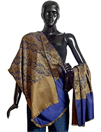 DollsofIndia Blue with Yellow Reversible Woolen Shawl - 38 x 82 inches (OP35)