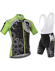 [Cojín 3D][traje[strap blancas] tamaño:XL] ciclismo transpirable para los Jerseys chaleco corta de rompevientos hombres maillot manga rendimiento ropa