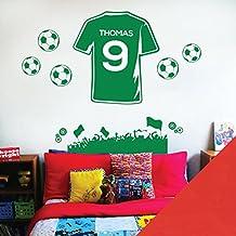 Wall Designer Nombre Personalizado Niños Pared Arte Adhesivo – Ventilador de fútbol Camiseta de fútbol Tema