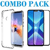 ADRY Combo Offer - 5D_Tempered Glass & Bumper Transparent Back Cover_Premium Quality Screen Guard And Soft Case Cover For Huawei Honor 8X
