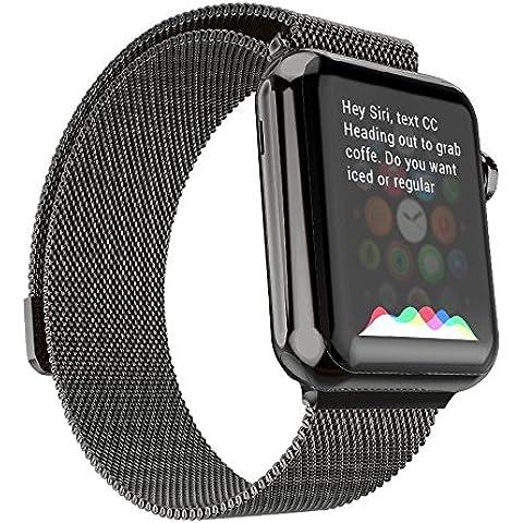 Ultra ® Negro de calidad superior de 42 mm Milanese Bucle de acero inoxidable Correa para relojes de Apple de 42 mm de espesor incluyendo adaptadores de 42mm con adaptadores y una correa
