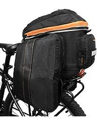 Ibera PakRak bicicleta de cercanías tronco bolsa 2en 1con ampliable–Alforjas para bicicleta, diseño de clip de liberación rápida y correa de hombro desmontable