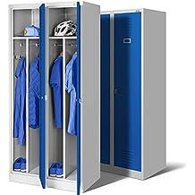 Juego de 2 taquillas vestuarios 2B1A armario de vestuario Armario de acero, armario del metal, armario doble, 2 compartimientos 180 x 80 x 50 (gris/azul)