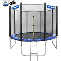 SONGMICS Trampoline TÜV Rheinland GS Certificate With Safety Enclosure Net +Ladder + Bounce Mat Blue 8ft 10ft 12ft