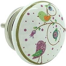 Uccelli da Giardino in ceramica porta manopola maniglia cassetti armadio