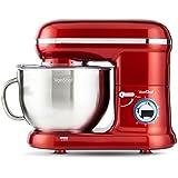 VonShef 1260W Küchenmaschine Rührmaschine Knetmaschine - 5,5L Rührschüssel mit Spritzschutz – Inklusive Quirl, Knethaken & Schneebesen - Rot