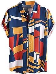IHGTZS Men's Shirts, Contrast Color Geometric Printed Turn Down Collar Short Sleeve Loose Sh