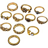 Bagues Femmes, Bonjouree 11 Pcs Bagues Argent /Oro Bohême Vintage Au-Dessus De Knuckle Pour Femmes Ado Filles