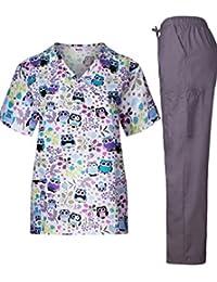 MedPro Scrub médico de la mujer Set con impreso Wrap Top y pantalones de carga