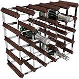 Rta Acero Galvanizado/madera de caoba Pino 25-bottle botellero, color marrón