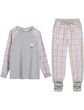 DMMSS Ladies 'Accappatoio lungo - maniche lunghe in cotone a quadri casa pigiama comodo 2 pezzi Pajamas Set ,...
