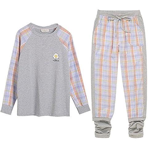 DMMSS Señoras Albornoz larga - de algodón de manga de la tela escocesa Inicio pijamas cómodo de 2 piezas pijamas Set , figure color , l