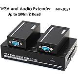 Milkee 100M extensor de audio vga señal amplificador divisor de entrada, Set de transmisor receptor sobre CAT5E/6 LAN Cable, 330MHZ