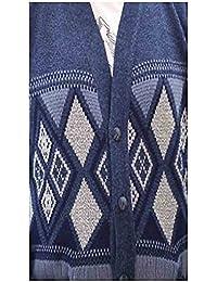 Mens Grandad Sleeveless Button Up Argyle Diamond Pattern Waistcoat